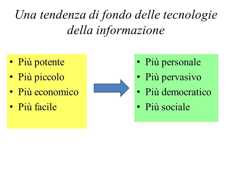 Una tendenza di fondo delle tecnologie della informazione Più potente Più piccolo Più economico Più facile Più personale Più pervasivo Più democratico