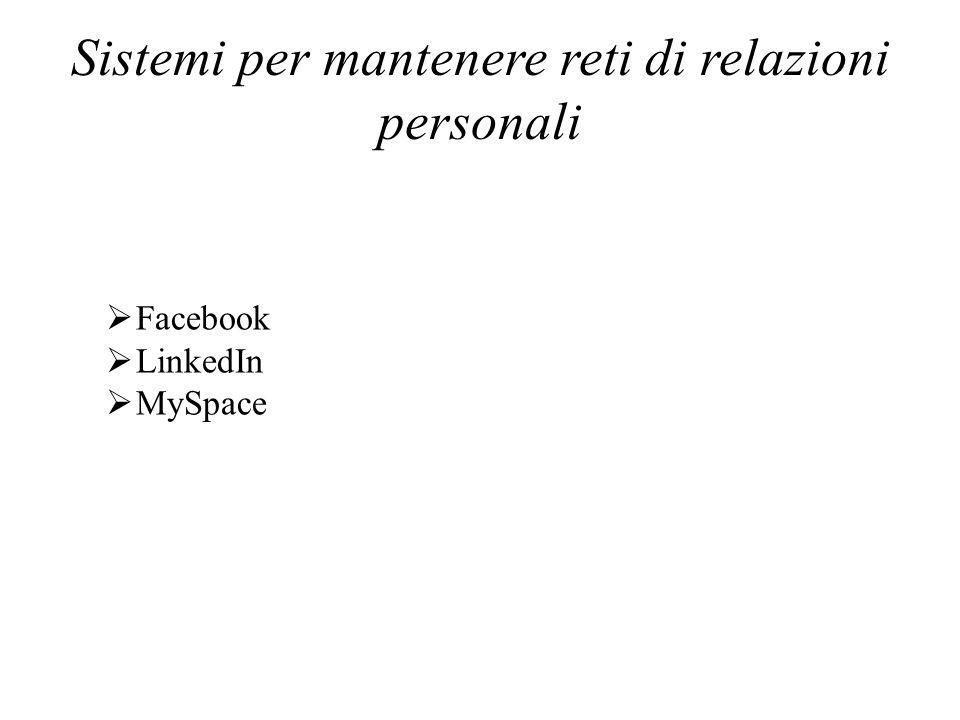 Sistemi per mantenere reti di relazioni personali Facebook LinkedIn MySpace