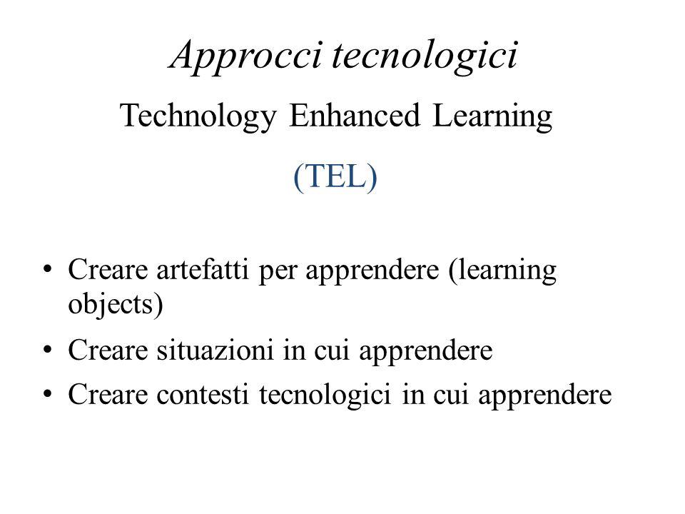 Approcci tecnologici Creare artefatti per apprendere (learning objects) Creare situazioni in cui apprendere Creare contesti tecnologici in cui apprend