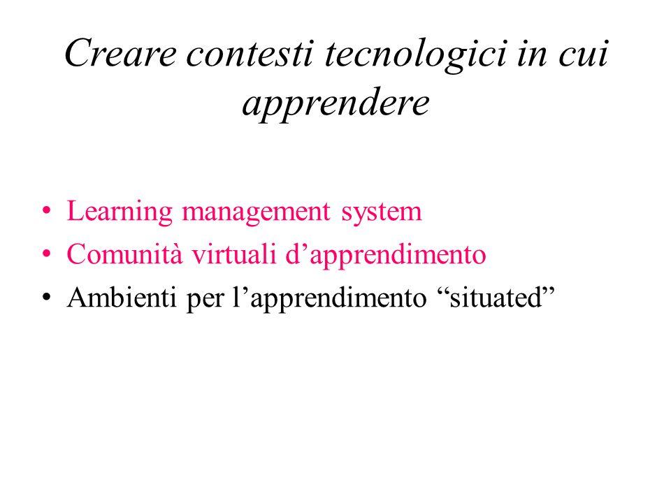 Creare contesti tecnologici in cui apprendere Learning management system Comunità virtuali dapprendimento Ambienti per lapprendimento situated