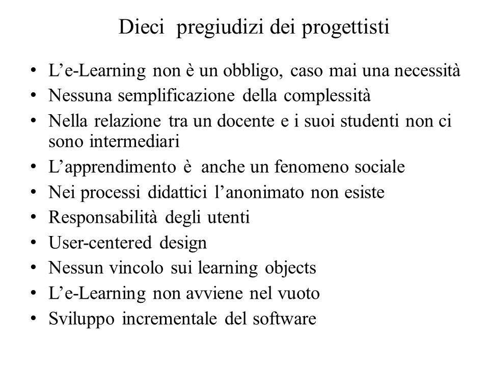 Dieci pregiudizi dei progettisti Le-Learning non è un obbligo, caso mai una necessità Nessuna semplificazione della complessità Nella relazione tra un
