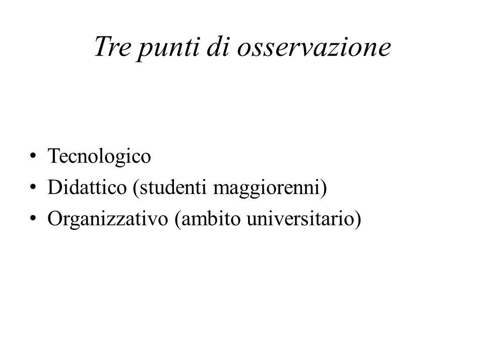 Tre punti di osservazione Tecnologico Didattico (studenti maggiorenni) Organizzativo (ambito universitario)