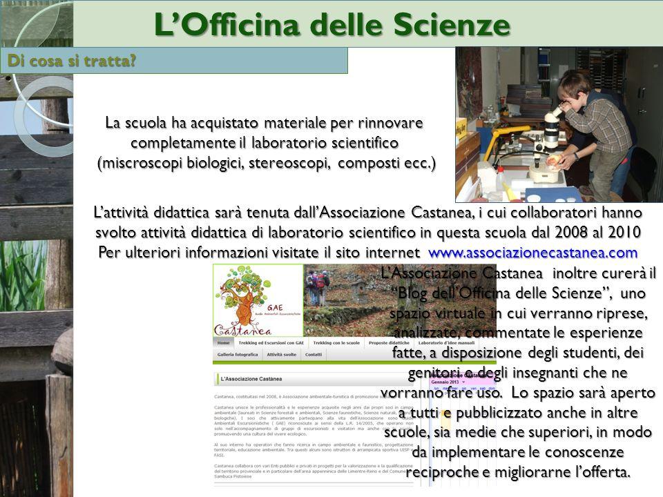 La scuola ha acquistato materiale per rinnovare completamente il laboratorio scientifico (miscroscopi biologici, stereoscopi, composti ecc.) (miscrosc