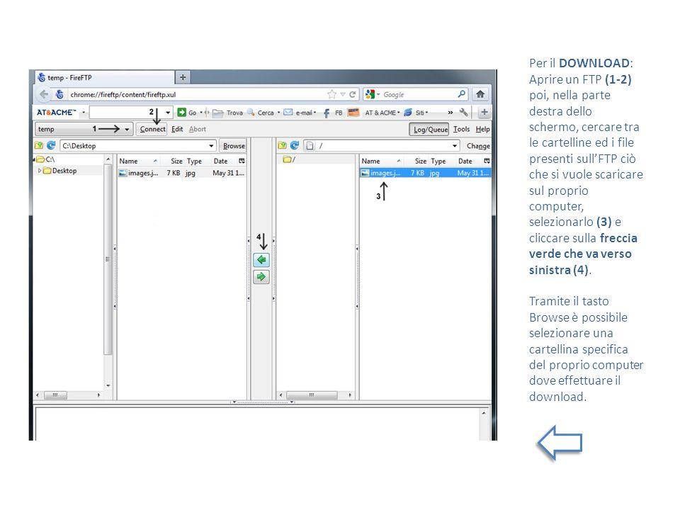 Per il DOWNLOAD: Aprire un FTP (1-2) poi, nella parte destra dello schermo, cercare tra le cartelline ed i file presenti sullFTP ciò che si vuole scar