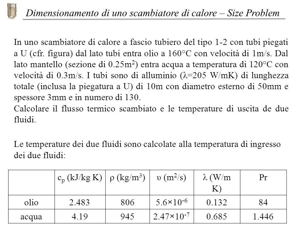 In uno scambiatore di calore a fascio tubiero del tipo 1-2 con tubi piegati a U (cfr. figura) dal lato tubi entra olio a 160°C con velocità di 1m/s. D
