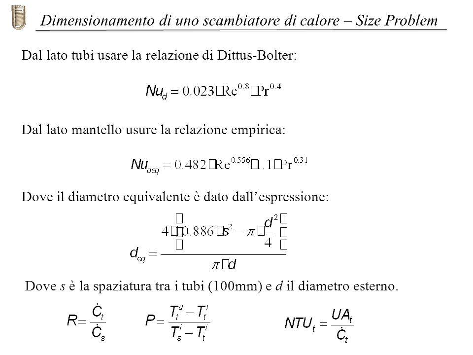 Dal lato mantello usure la relazione empirica: Dimensionamento di uno scambiatore di calore – Size Problem Dove s è la spaziatura tra i tubi (100mm) e