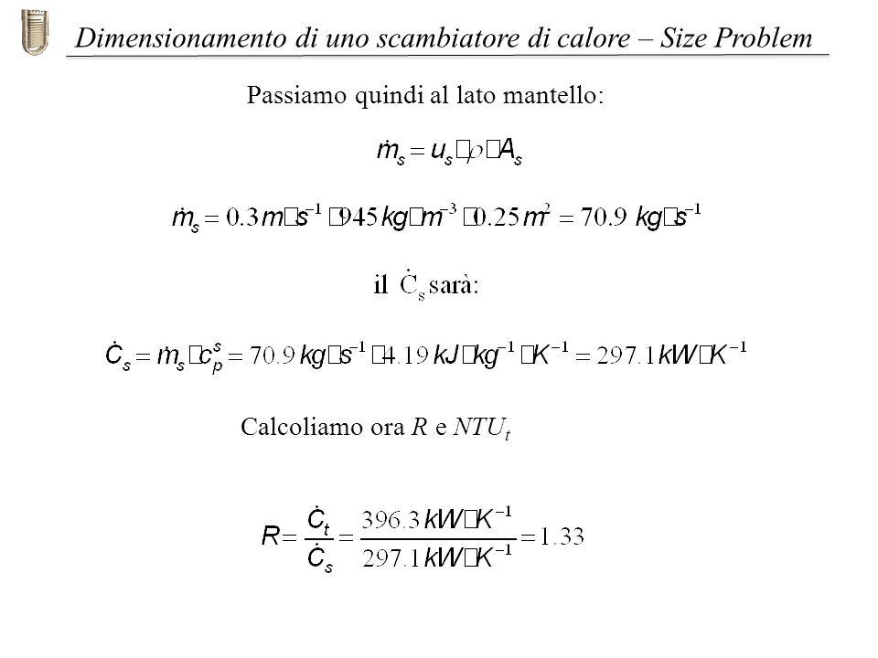 Dimensionamento di uno scambiatore di calore – Size Problem Passiamo quindi al lato mantello: Calcoliamo ora R e NTU t