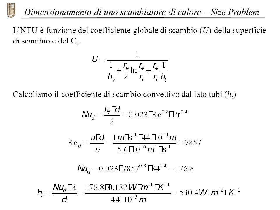 Dimensionamento di uno scambiatore di calore – Size Problem LNTU è funzione del coefficiente globale di scambio (U) della superficie di scambio e del