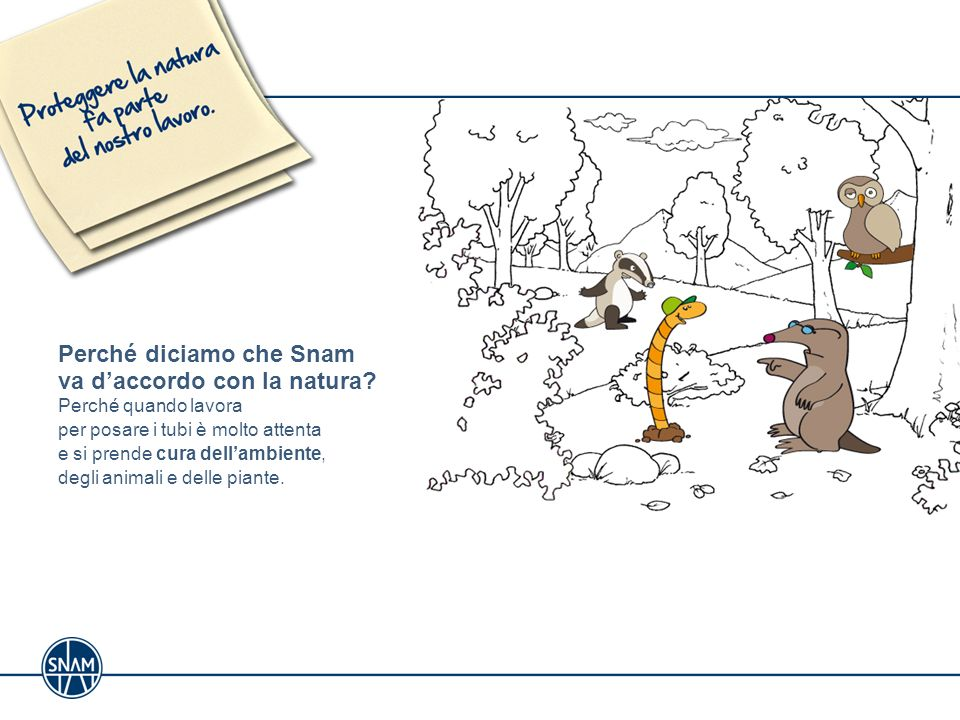 Perché diciamo che Snam va daccordo con la natura? Perché quando lavora per posare i tubi è molto attenta e si prende cura dellambiente, degli animali