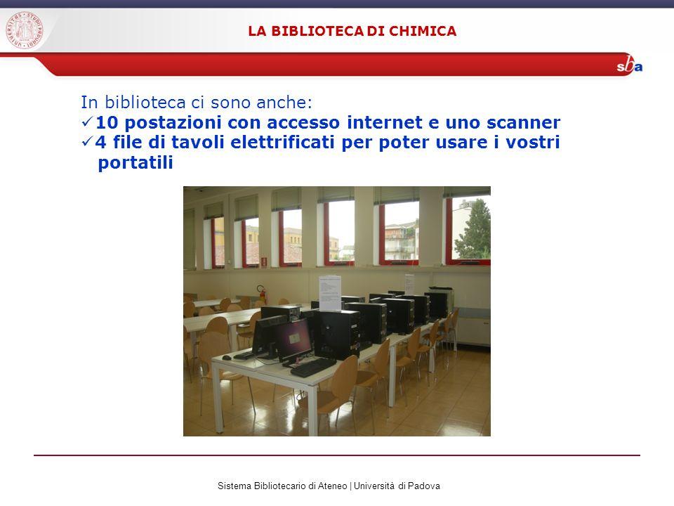 Sistema Bibliotecario di Ateneo | Università di Padova LA BIBLIOTECA DI CHIMICA In biblioteca ci sono anche: 10 postazioni con accesso internet e uno scanner 4 file di tavoli elettrificati per poter usare i vostri portatili