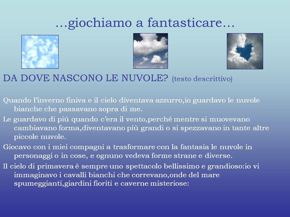 …giochiamo a fantasticare… DA DOVE NASCONO LE NUVOLE? (testo descrittivo) Quando linverno finiva e il cielo diventava azzurro,io guardavo le nuvole bi
