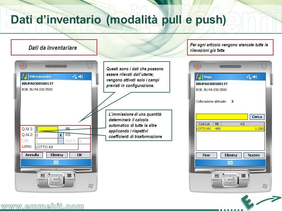 Dati dinventario (modalità pull e push) Dati da inventariare Questi sono i dati che possono essere rilevati dallutente; vengono attivati solo i campi previsti in configurazione.