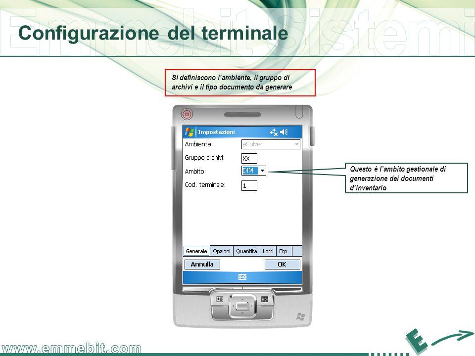 Configurazione del terminale Si definiscono lambiente, il gruppo di archivi e il tipo documento da generare Questo è lambito gestionale di generazione dei documenti dinventario