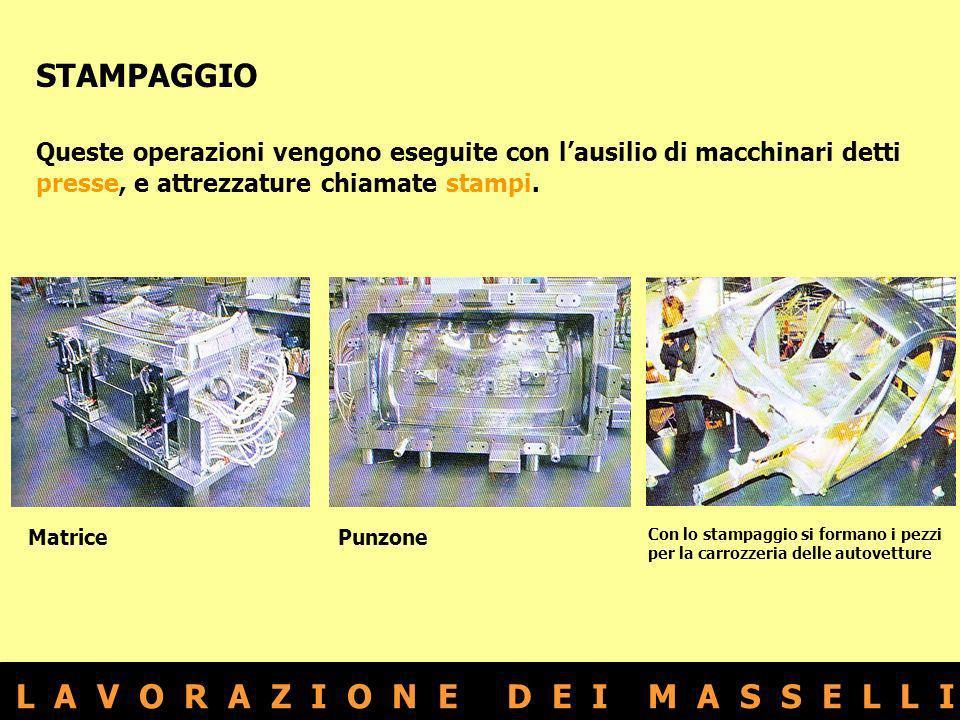 L A V O R A Z I O N E D E I M A S S E L L I STAMPAGGIO Queste operazioni vengono eseguite con lausilio di macchinari detti presse, e attrezzature chia