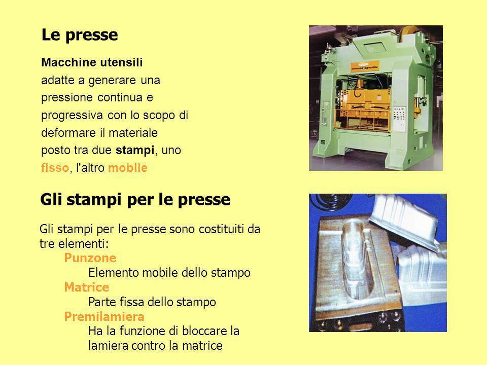 Macchine utensili adatte a generare una pressione continua e progressiva con lo scopo di deformare il materiale posto tra due stampi, uno fisso, l'alt