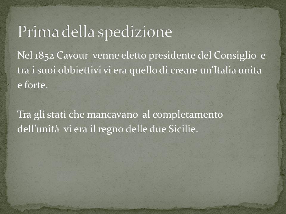 Nel 1852 Cavour venne eletto presidente del Consiglio e tra i suoi obbiettivi vi era quello di creare unItalia unita e forte.
