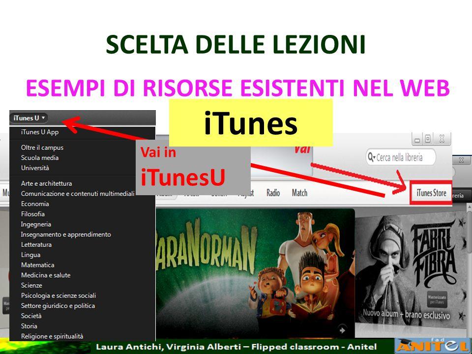 SCELTA DELLE LEZIONI ESEMPI DI RISORSE ESISTENTI NEL WEB iTunes Vai in iTunesU iTunes