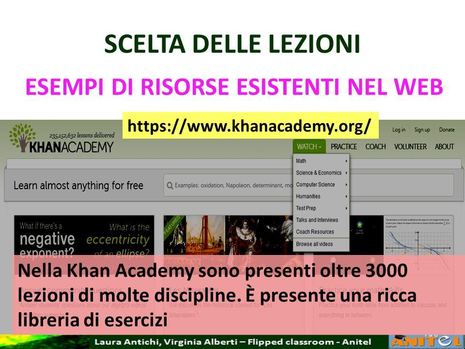 SCELTA DELLE LEZIONI ESEMPI DI RISORSE ESISTENTI NEL WEB https://www.khanacademy.org/ Nella Khan Academy sono presenti oltre 3000 lezioni di molte dis