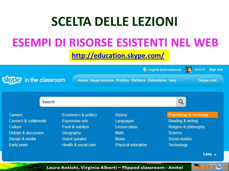 SCELTA DELLE LEZIONI ESEMPI DI RISORSE ESISTENTI NEL WEB http://education.skype.com/