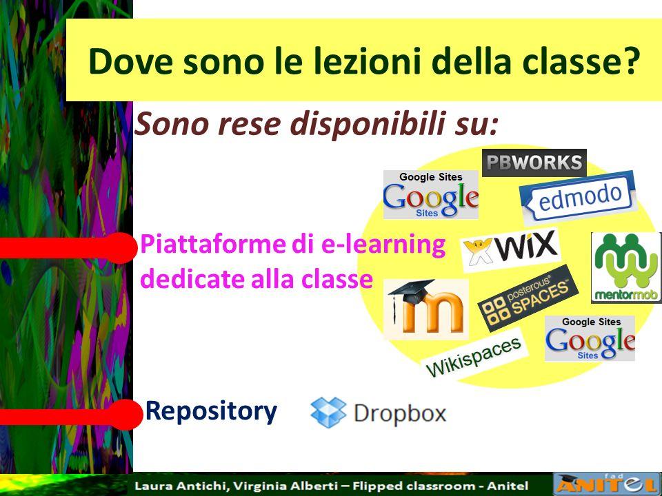 Dove sono le lezioni della classe? Sono rese disponibili su: Piattaforme di e-learning dedicate alla classe Repository