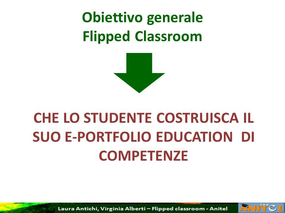 Obiettivo generale Flipped Classroom CHE LO STUDENTE COSTRUISCA IL SUO E-PORTFOLIO EDUCATION DI COMPETENZE
