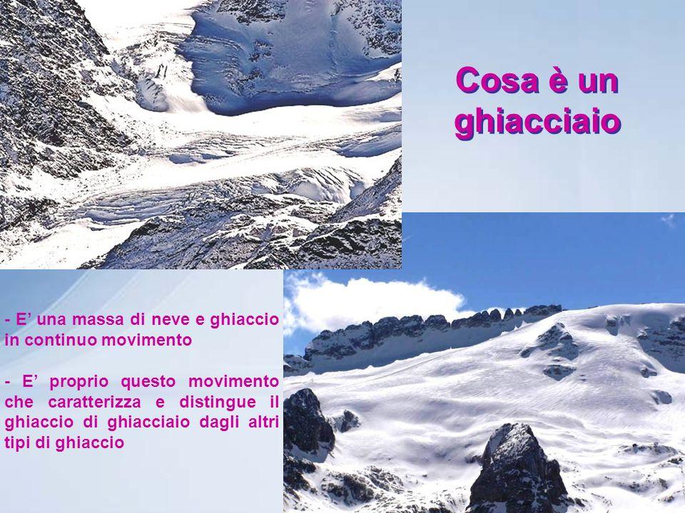 Cosa è un ghiacciaio - E una massa di neve e ghiaccio in continuo movimento - E proprio questo movimento che caratterizza e distingue il ghiaccio di ghiacciaio dagli altri tipi di ghiaccio