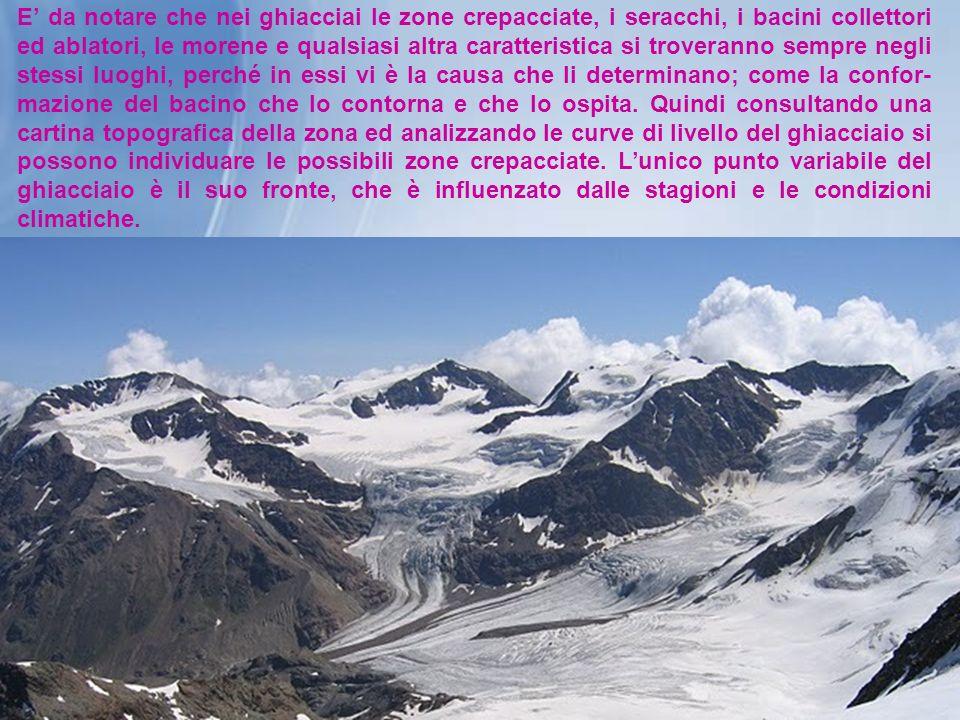 E da notare che nei ghiacciai le zone crepacciate, i seracchi, i bacini collettori ed ablatori, le morene e qualsiasi altra caratteristica si troveran