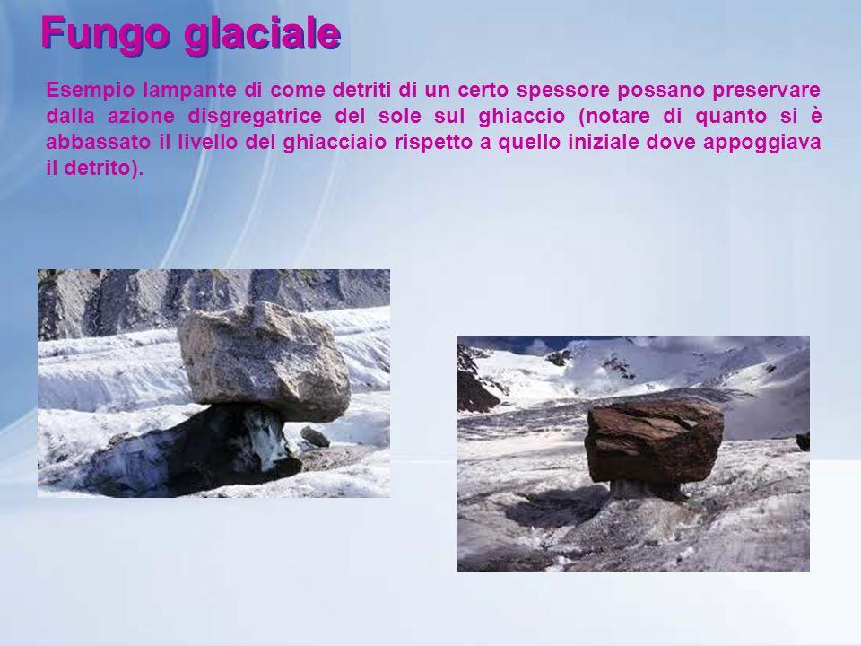 Fungo glaciale Esempio lampante di come detriti di un certo spessore possano preservare dalla azione disgregatrice del sole sul ghiaccio (notare di qu
