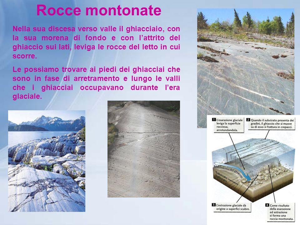 Rocce montonate Nella sua discesa verso valle il ghiacciaio, con la sua morena di fondo e con lattrito del ghiaccio sui lati, leviga le rocce del lett
