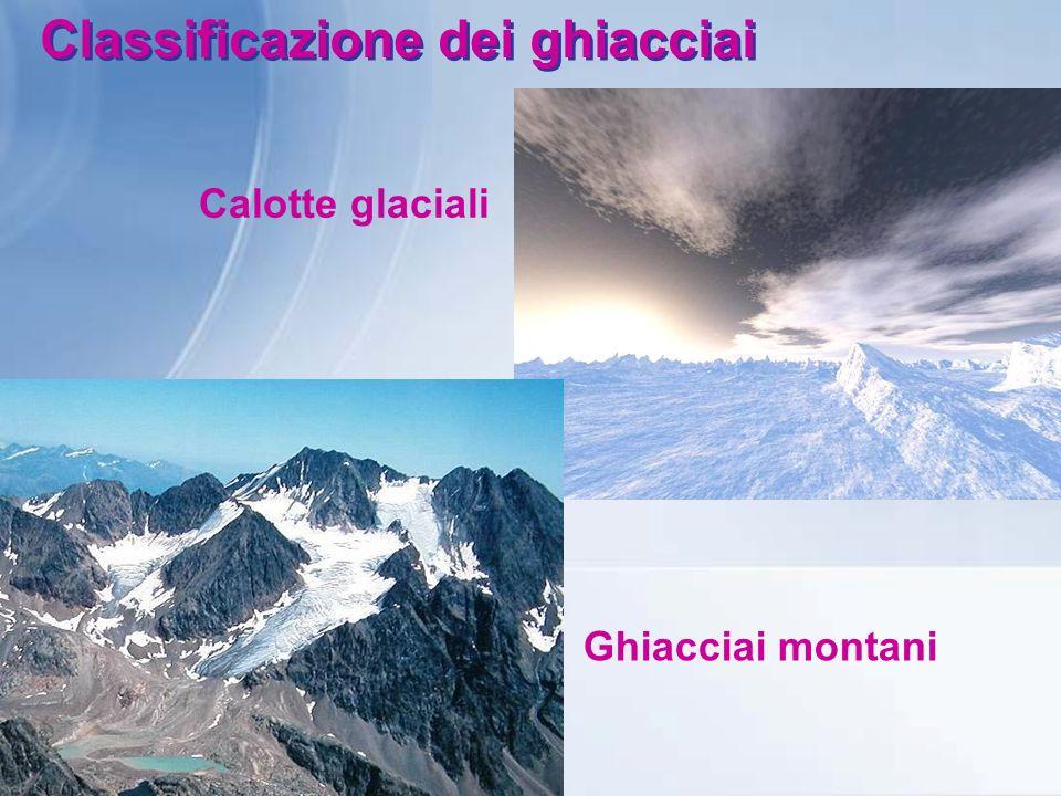 Classificazione dei ghiacciai Calotte glaciali Ghiacciai montani
