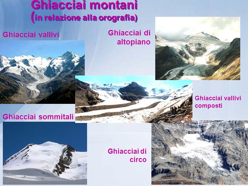 Ghiacciai montani ( in relazione alla orografia) Ghiacciai vallivi Ghiacciai di altopiano Ghiacciai vallivi composti Ghiacciai sommitali Ghiacciai di