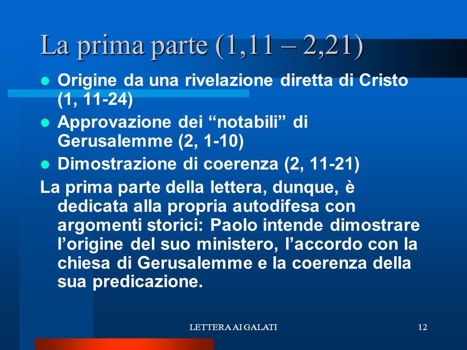 Origine da una rivelazione diretta di Cristo (1, 11-24) Approvazione dei notabili di Gerusalemme (2, 1-10) Dimostrazione di coerenza (2, 11-21) La pri
