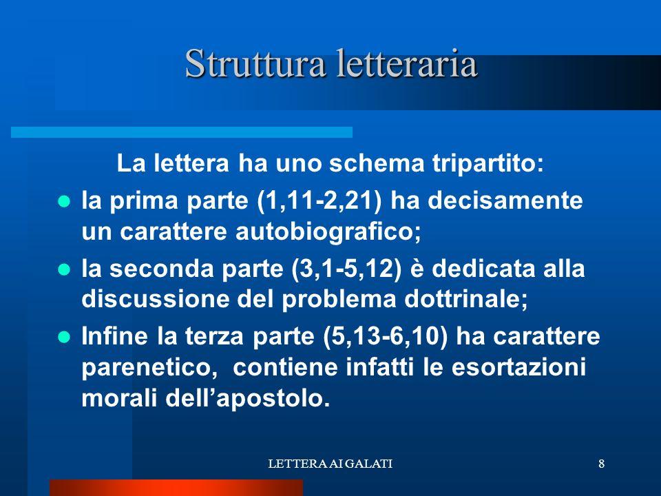 La lettera ha uno schema tripartito: la prima parte (1,11-2,21) ha decisamente un carattere autobiografico; la seconda parte (3,1-5,12) è dedicata all