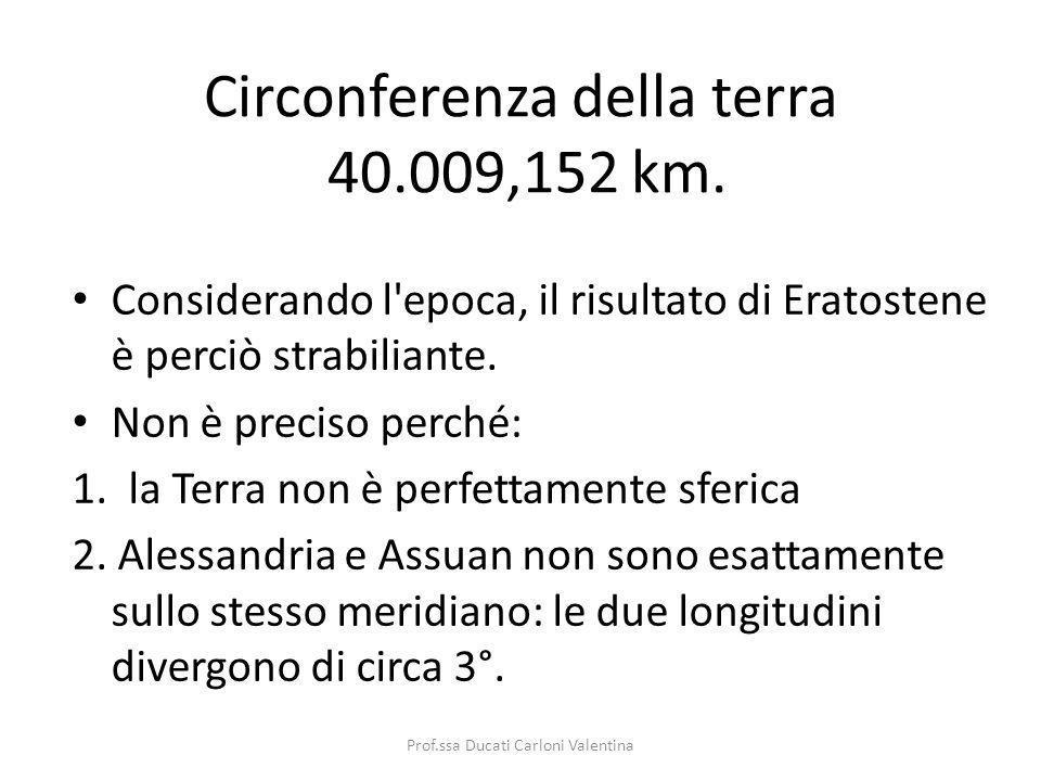 Circonferenza della terra 40.009,152 km. Considerando l'epoca, il risultato di Eratostene è perciò strabiliante. Non è preciso perché: 1. la Terra non