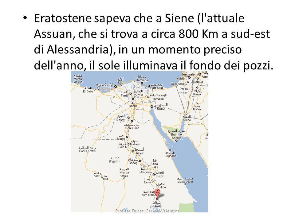 Eratostene sapeva che a Siene (l'attuale Assuan, che si trova a circa 800 Km a sud-est di Alessandria), in un momento preciso dell'anno, il sole illum