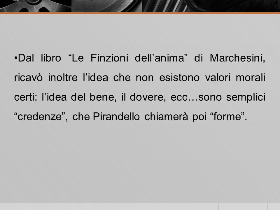 Dal libro Le Finzioni dellanima di Marchesini, ricavò inoltre lidea che non esistono valori morali certi: lidea del bene, il dovere, ecc…sono semplici