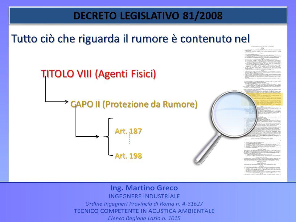 Tutto ciò che riguarda il rumore è contenuto nel TITOLO VIII (Agenti Fisici) CAPO II (Protezione da Rumore) Art. 187 Art. 187 Art. 198 Art. 198
