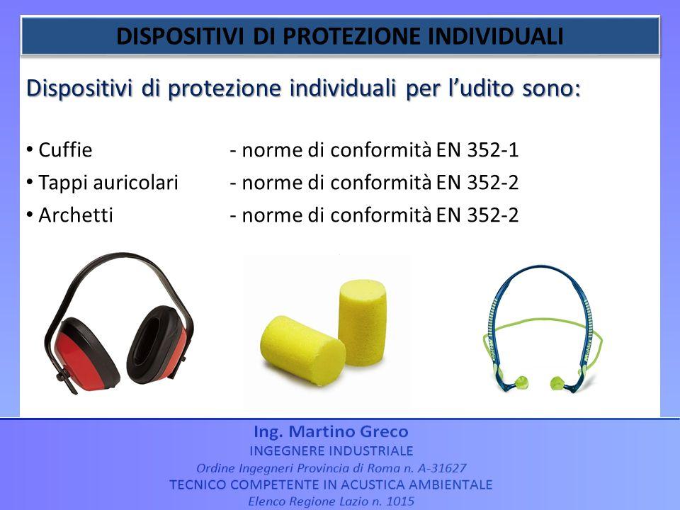 Dispositivi di protezione individuali per ludito sono: Cuffie - norme di conformità EN 352-1 Tappi auricolari- norme di conformità EN 352-2 Archetti-