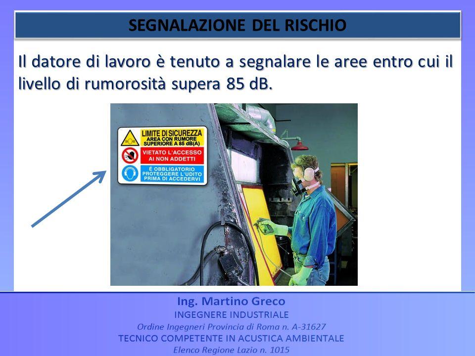 Il datore di lavoro è tenuto a segnalare le aree entro cui il livello di rumorosità supera 85 dB.