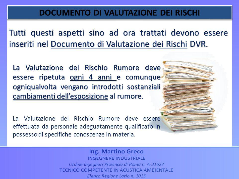Tutti questi aspetti sino ad ora trattati devono essere inseriti nel Documento di Valutazione dei Rischi DVR. La Valutazione del Rischio Rumore deve e