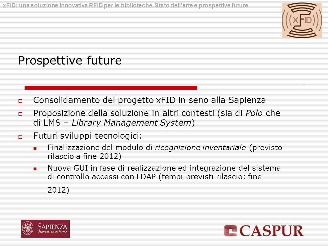 Prospettive future Consolidamento del progetto xFID in seno alla Sapienza Proposizione della soluzione in altri contesti (sia di Polo che di LMS – Lib
