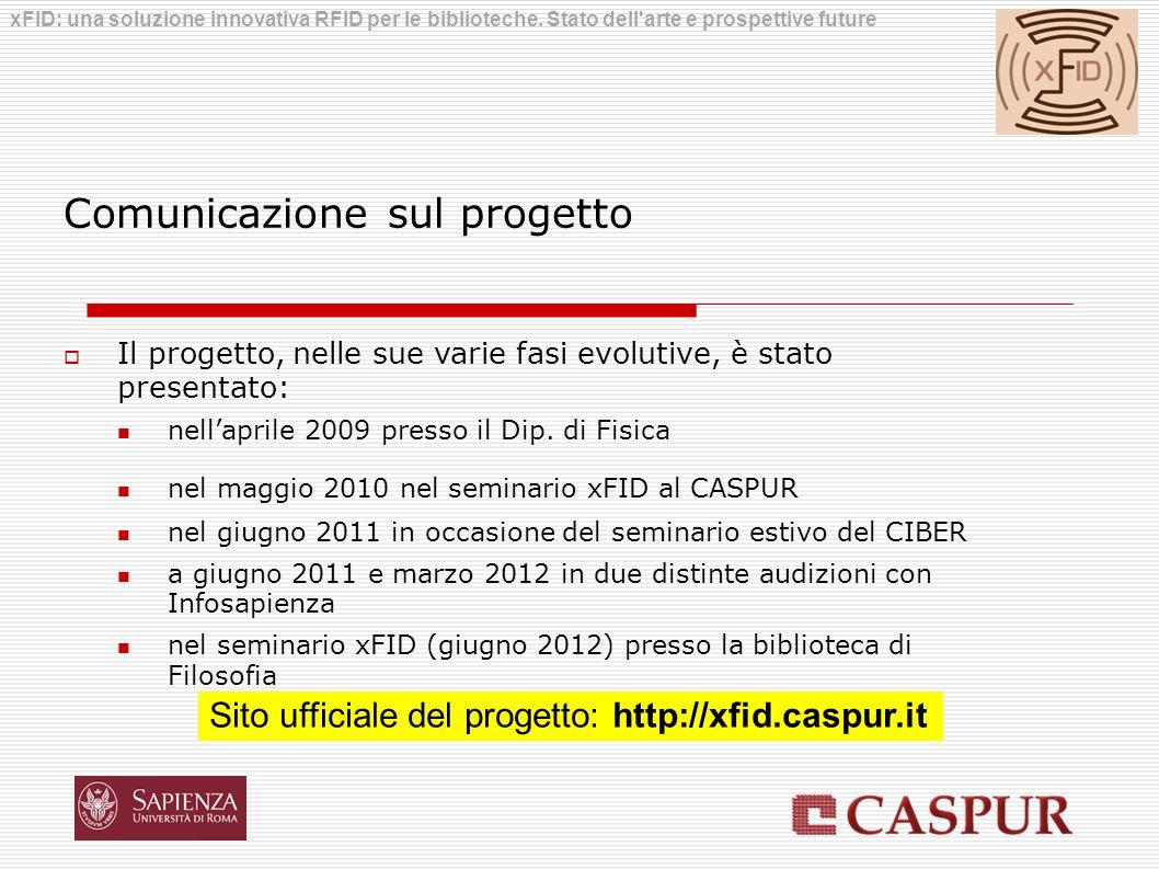 Comunicazione sul progetto Il progetto, nelle sue varie fasi evolutive, è stato presentato: nellaprile 2009 presso il Dip. di Fisica nel maggio 2010 n