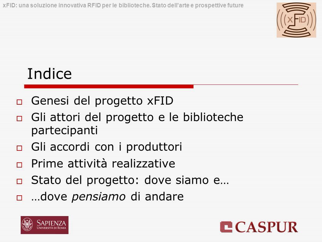 Indice Genesi del progetto xFID Gli attori del progetto e le biblioteche partecipanti Gli accordi con i produttori Prime attività realizzative Stato d