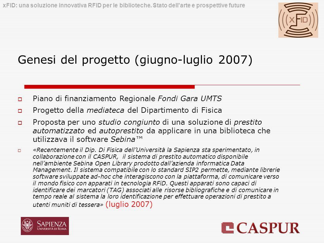 Genesi del progetto (giugno-luglio 2007) Piano di finanziamento Regionale Fondi Gara UMTS Progetto della mediateca del Dipartimento di Fisica Proposta