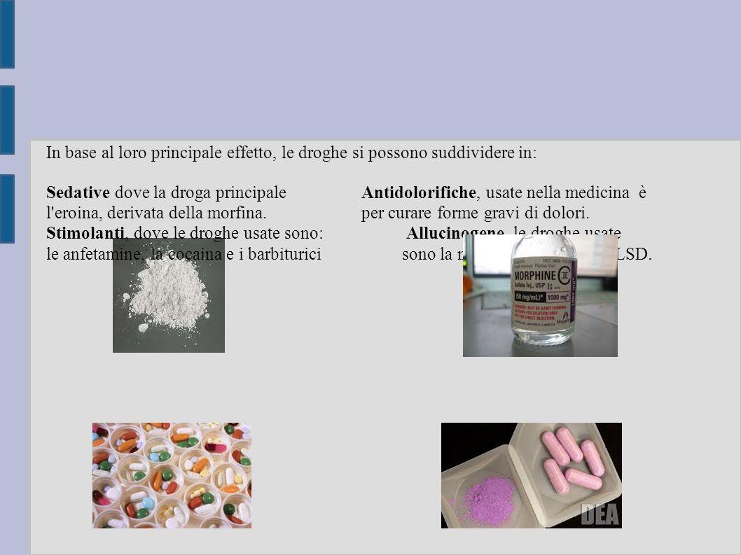 In base al loro principale effetto, le droghe si possono suddividere in: Sedative dove la droga principale Antidolorifiche, usate nella medicina è l eroina, derivata della morfina.
