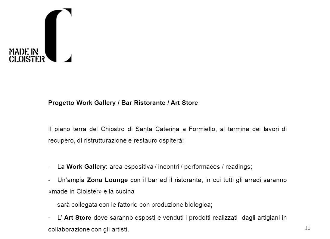 11 Progetto Work Gallery / Bar Ristorante / Art Store Il piano terra del Chiostro di Santa Caterina a Formiello, al termine dei lavori di recupero, di