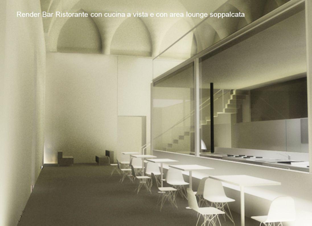 15 Render Bar Ristorante con cucina a vista e con area lounge soppalcata