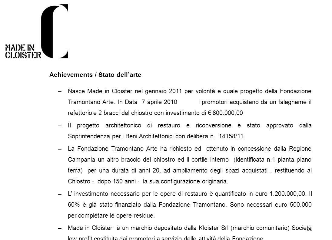 21 Achievements / Stato dellarte –Nasce Made in Cloister nel gennaio 2011 per volontà e quale progetto della Fondazione Tramontano Arte. In Data 7 apr