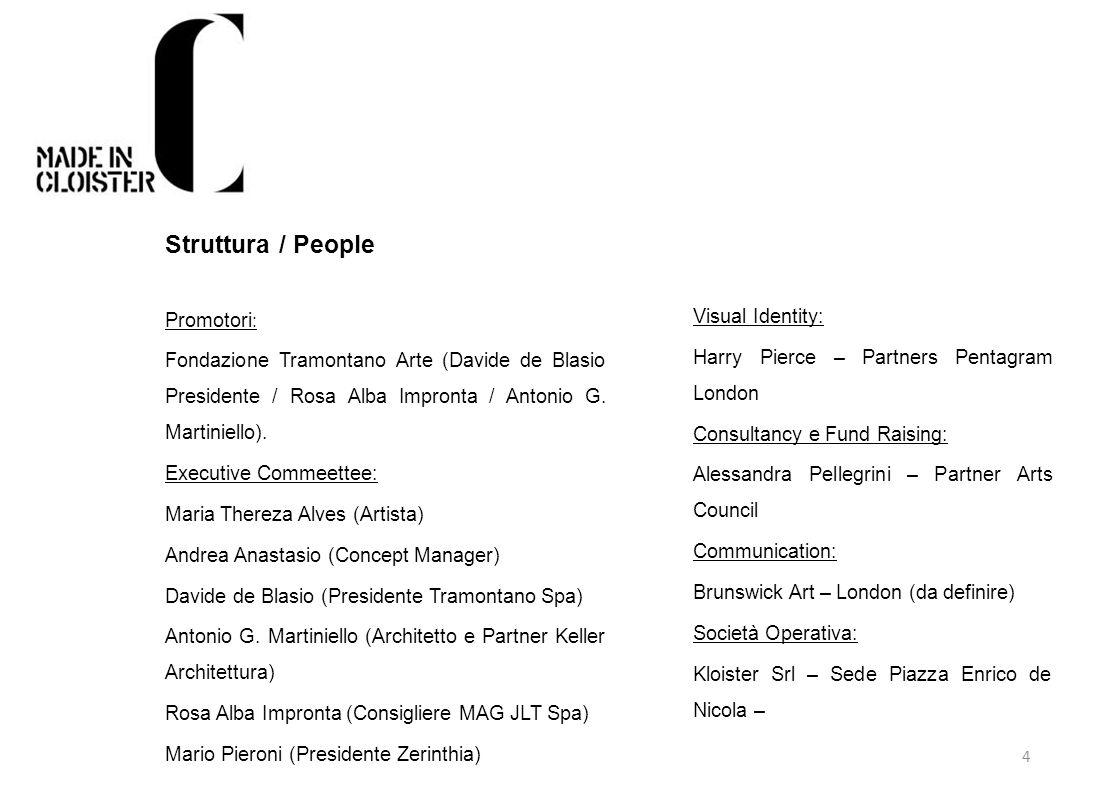4 Struttura / People Promotori : Fondazione Tramontano Arte (Davide de Blasio Presidente / Rosa Alba Impronta / Antonio G. Martiniello). Executive Com