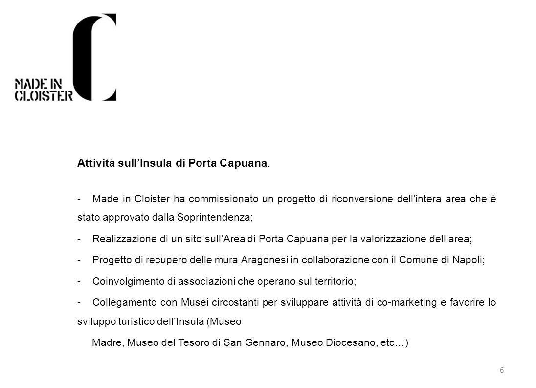 6 Attività sullInsula di Porta Capuana. - Made in Cloister ha commissionato un progetto di riconversione dellintera area che è stato approvato dalla S